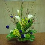 (花)カラー、シンピジューム、トルコききょう、てまり草(枝)梅もどき(葉物)モンステラ、ドラセラ、ゴットセファナ