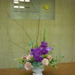 (花)エリンジューム、バンダ、トルコききょう(枝)レッドドラゴン柳(葉物)ウーリーブッシュ、丸葉ユーカリ