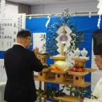 工事の無事完成を祈る穴田農協会館理事長。