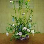 (花)るり玉あざみ、トルコききょう(葉物)スパイラルバンブー、イタリアンルスカス