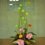 ハロウィン第1弾です。(花)ヒペリカム(トマトフレア)アンスリューム(スィートロージィ)かぼちゃ、(葉物)クロトン(ゴールディアナ)(枝)ドラゴン柳、風せんとうわた