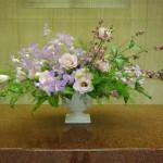 (花)デンファレ(キャディーストライプ)、トルコききょう(コレゾライトピンク)(葉物)福みどり、ゴットセファナ(枝)シンフォリカルポス(マリーン)