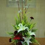 アドベント第1週です。(花)ゆり(サンブッカ)、カーネーション(チューリッヒ)、ポンイセチア、(葉物)雪冠杉、(枝)サンゴ水木