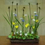 [花]矢車草、フリージア(アラジン)、シクラメン(白)、[葉]ゼンマイ、ナルコラン、紅ツゲ