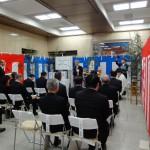 耐震改修工事の完成を祝い、1階エントランスホールで行われた修祓式。