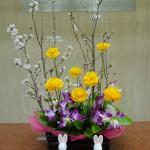 おひな祭りです。[花]ラナンキュラス(黄)、デンファーレ(アンナ)、[葉]丸葉ルスカス、[枝]啓翁桜
