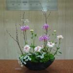 [花]エビデンドラム、ラナンキュラス(ラックスロティス)、ホワイトレースフラワー、てまり草、[葉]丸葉ルスカス、[枝]啓翁桜